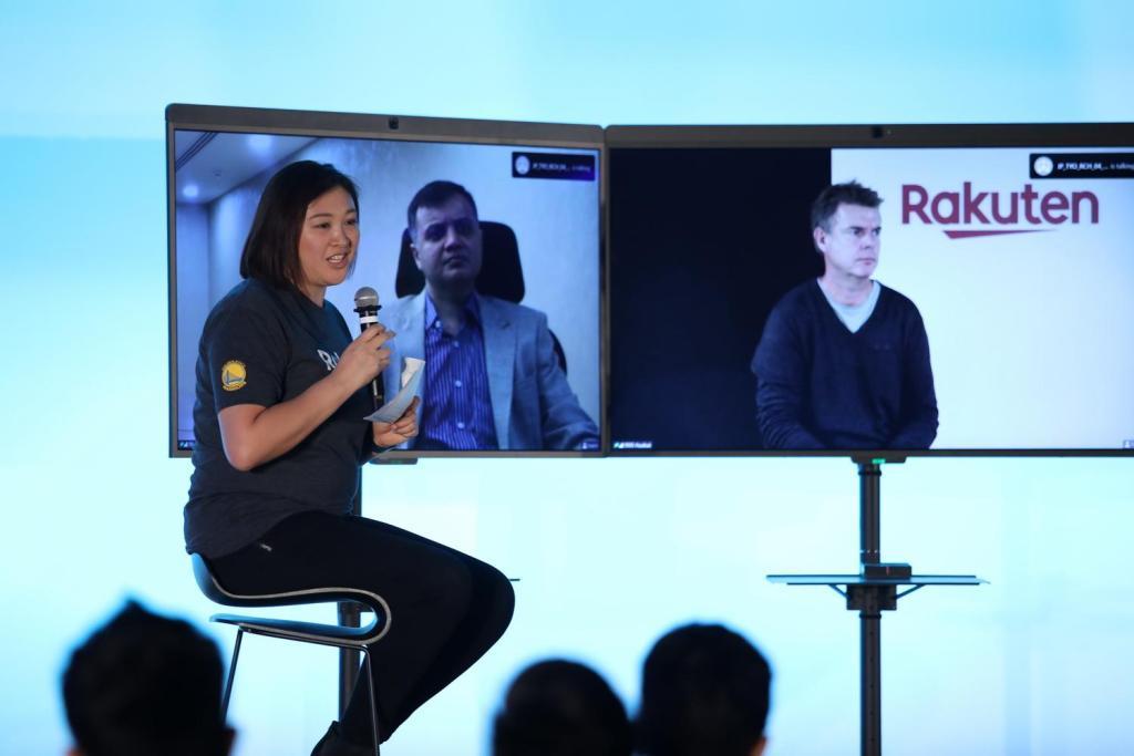 Rakuten.com CTO Bjorn Laukli (right) joined the panel from San Mateo via video conference.