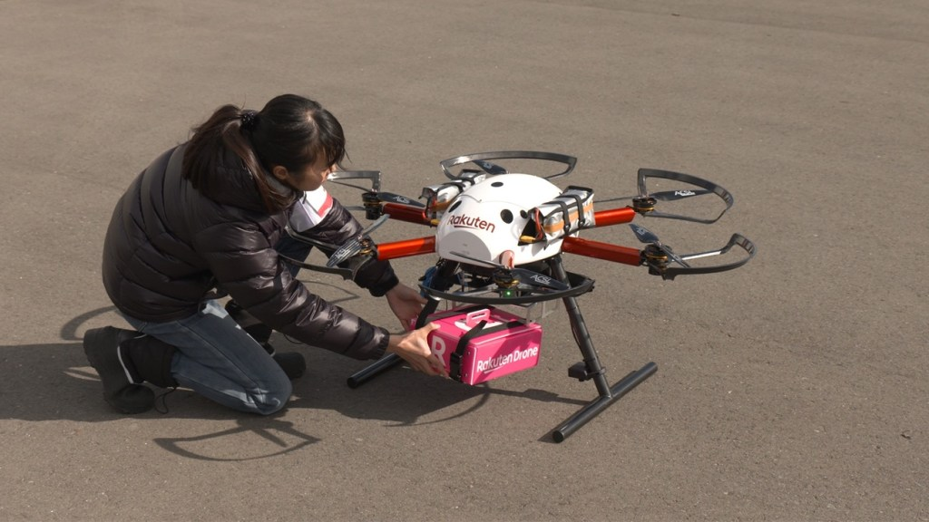 "The ""Tenku"" drone is loaded with cargo ahead of a trial delivery flight."