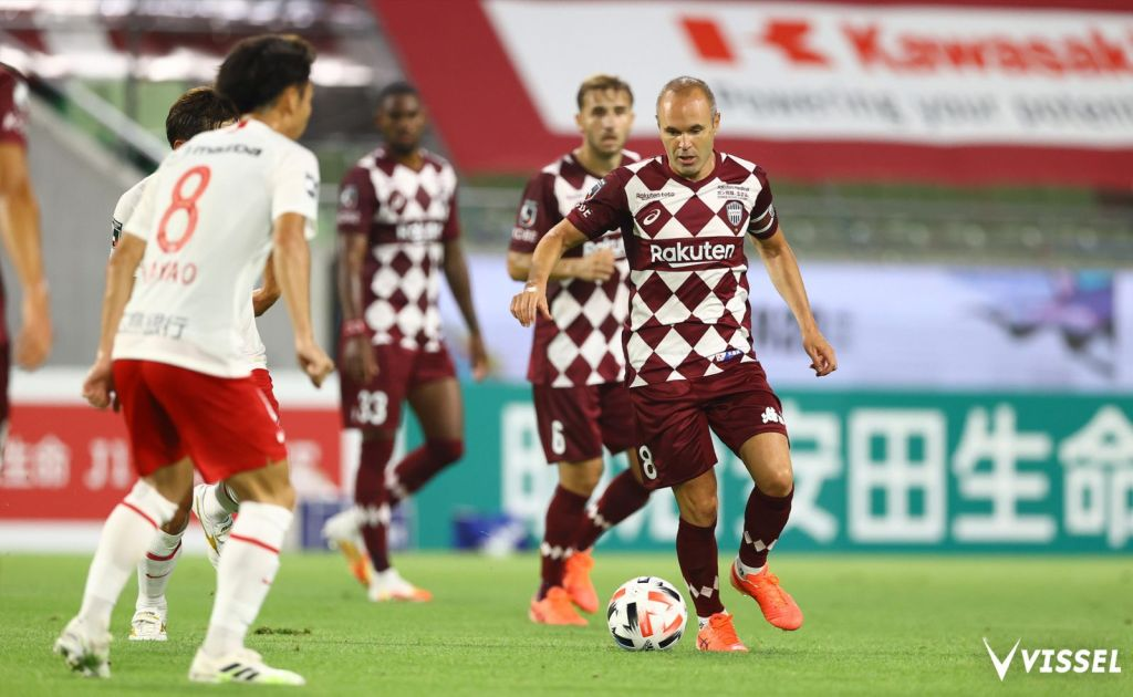 Star midfielder Andres Iniesta and his Vissel teammates were happy to be back on the pitch.