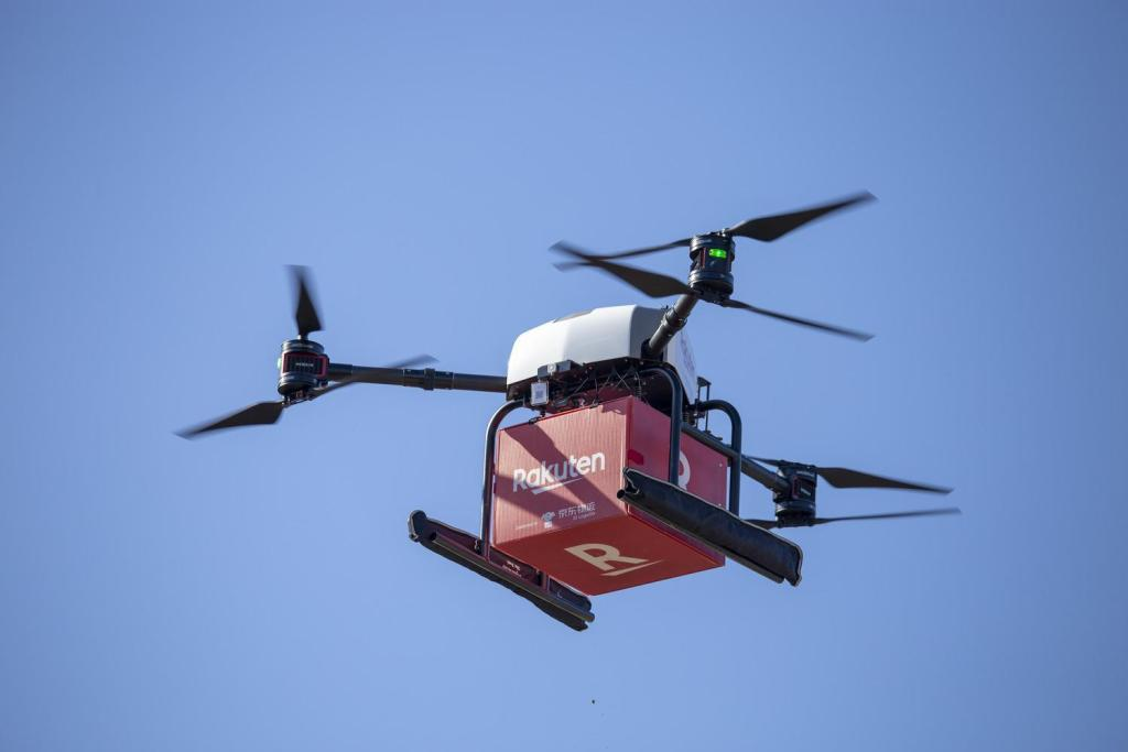 A recent Rakuten Drone test flight delivered up to 5kg of groceries across 5.5km of ocean.