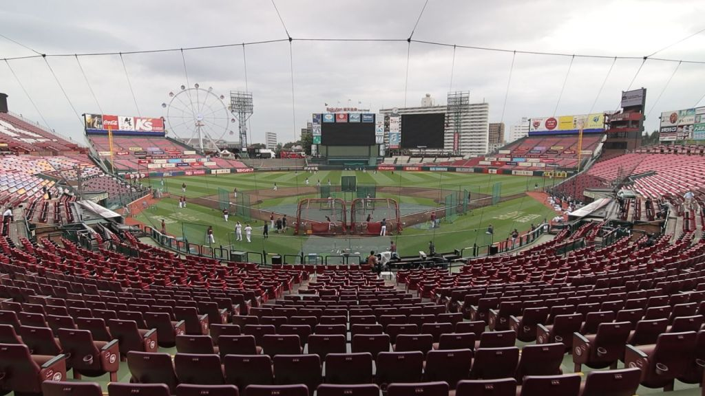 The stands of the Rakuten Eagles home stadium in Sendai are empty—for now.