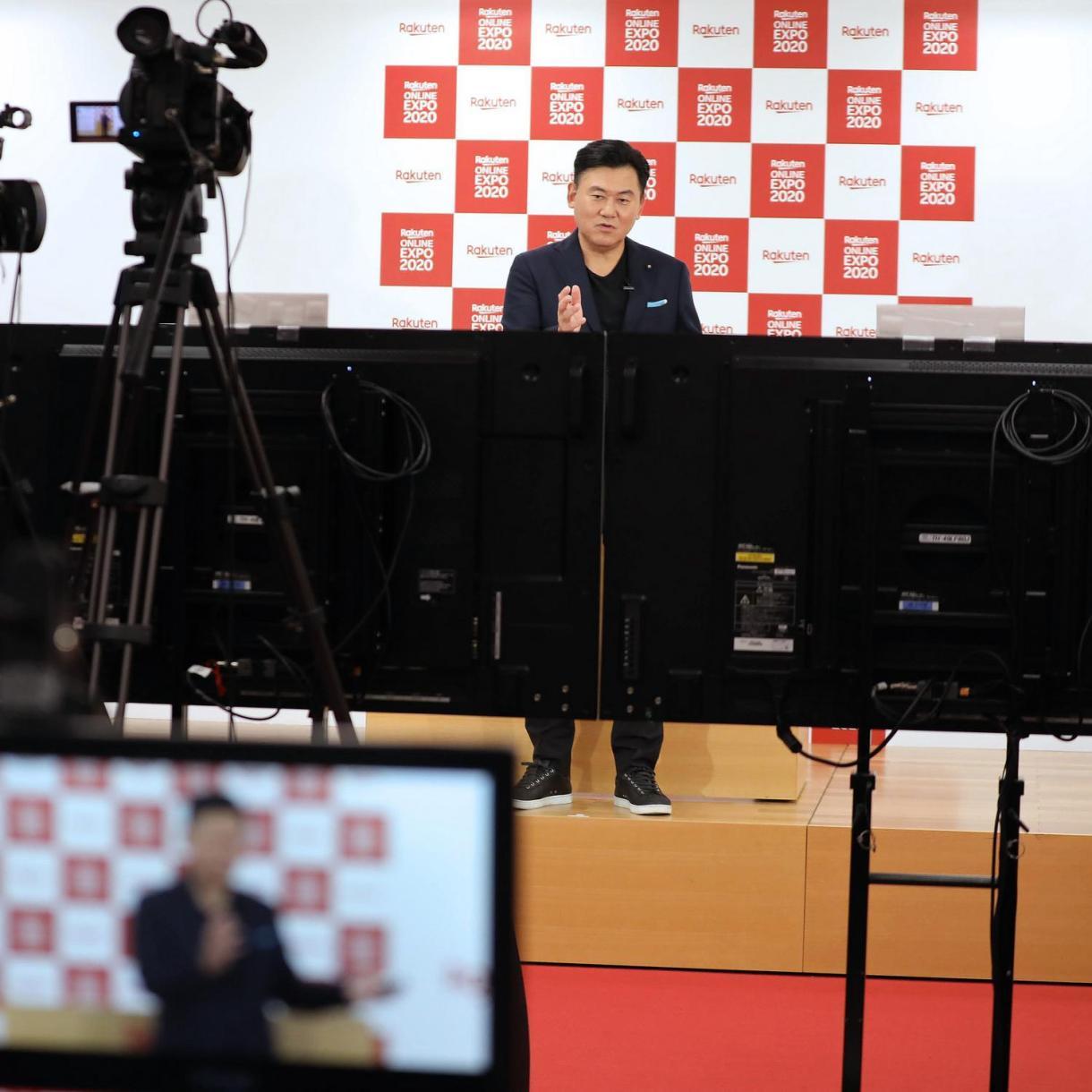 Rakuten Chairman and CEO Mickey Mikitani delivers his address remotely to the Rakuten Ichiba merchant community.