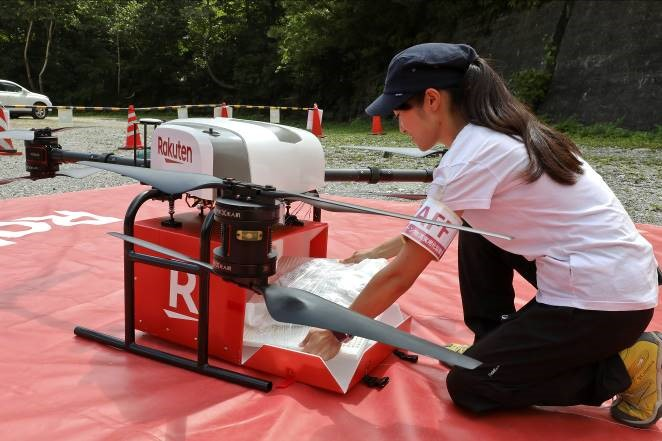 Rakuten's drone can deliver up to 5kg of goods―even fragile fruits like peaches and pears.
