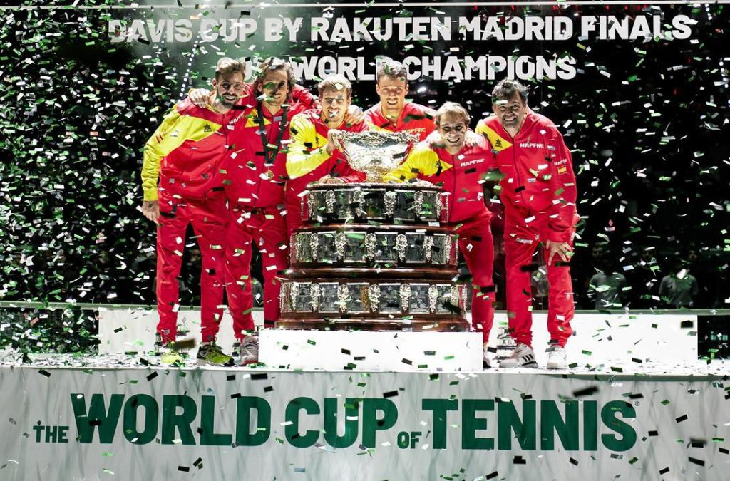 Spain celebrate their 2019 Davis Cup championship.