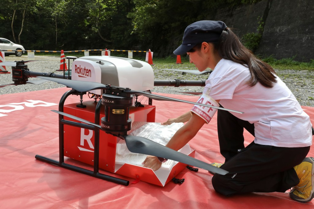 This Rakuten drone can deliver up to 5kg of goods ― even fragile fruits like peaches and pears.
