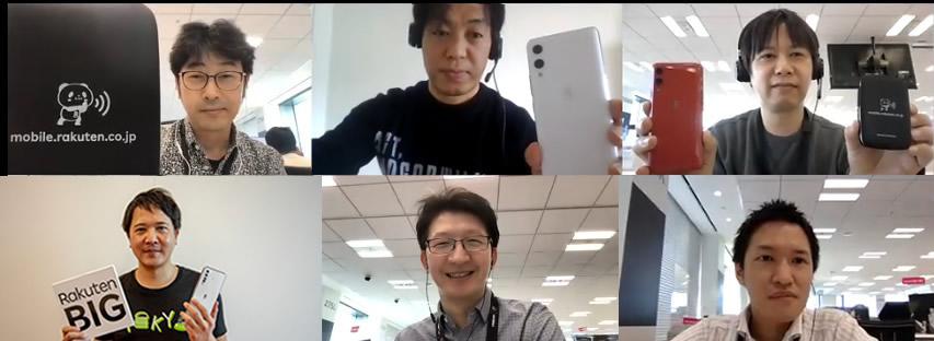 The development team behind Rakuten Mobile's devices:  Top row (from left): Kazuyuki Sato, Hiroyuki Ito, Tadashi Tsukamoto  Bottom row (from left): Masashi Onogi, Hajime Seki, Kosuke Yajima