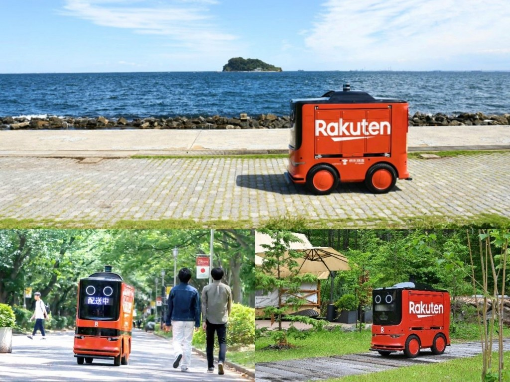 Clockwise from top: Rakuten's UGV at Umikaze Park in Yokosuka; Delivering to glampers in Tateshina, Nagano; Navigating around students on a university campus in Chiba.