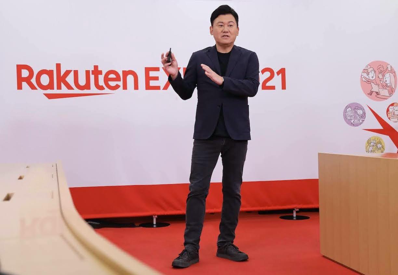 Mickey Mikitani onstage at Rakuten Expo 2021