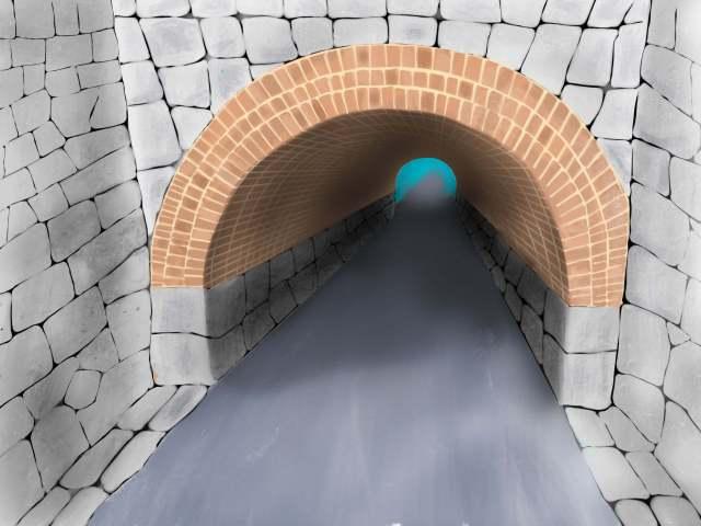 今も残る高槻城の石垣石で造られた橋脚やトンネル
