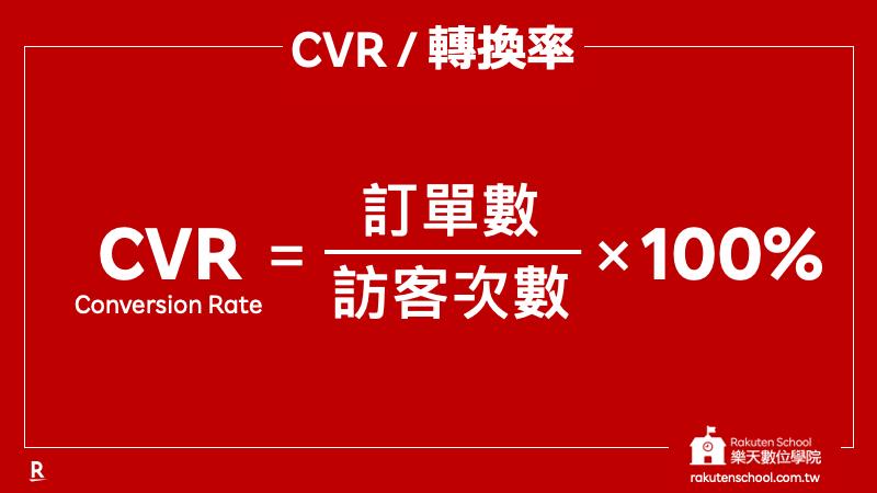 CVR 轉換率 計算公式 (訂單數/訪客次數) x 100%