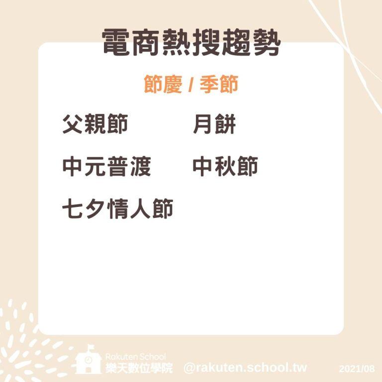 8月熱銷關鍵字-節慶季節