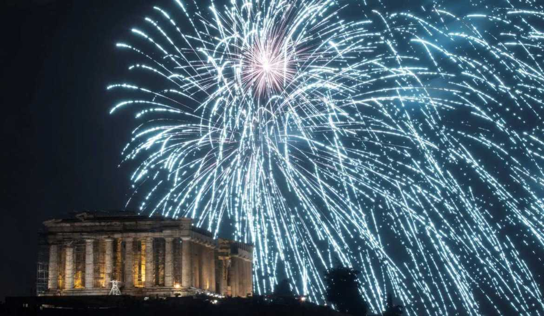 pesta kembang api di Yunani