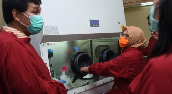 Rektor Universitas Sumatera Utara Profesor Runtung Sitepu meninjau uji Swab menggunakan metode PCR di RS USU. Foto: Istimewa
