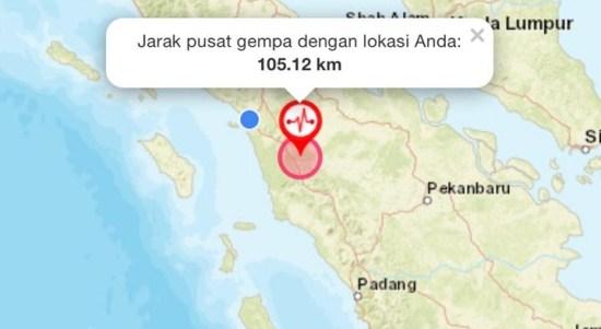 Pusat gempa di Padang Lawas, Sumut. Foto: Tangkapan layar