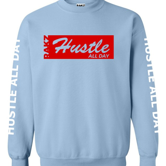 rakz light blue hustle all day crew neck