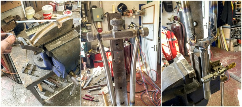 Dave Yates Frame Building Course Day 3 Fork Blade Offset Set and Brazed to Crown