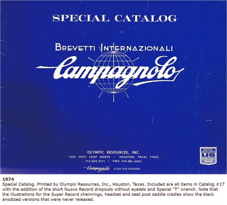 Campagnolo 1974 Special Catalogue