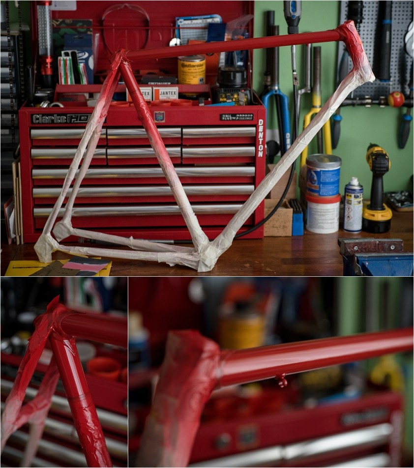 SB4059 1980 TI-Raleigh Team Pro Reynolds 753 Frame Transfer Removal Masked Frame Painted