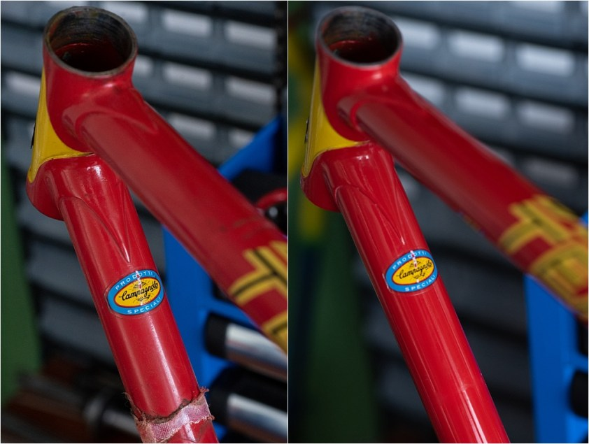 SBDU Paint Preservation SB9 My TI-Raleigh Down Tube Before and After