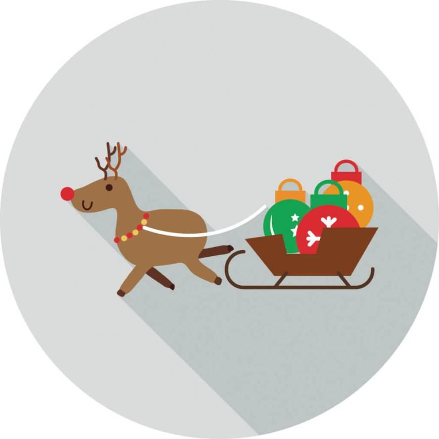 Reindeer with Santa's sleigh