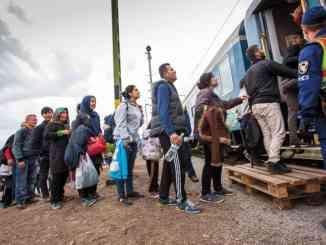 War refugees at Zakany Railway Station