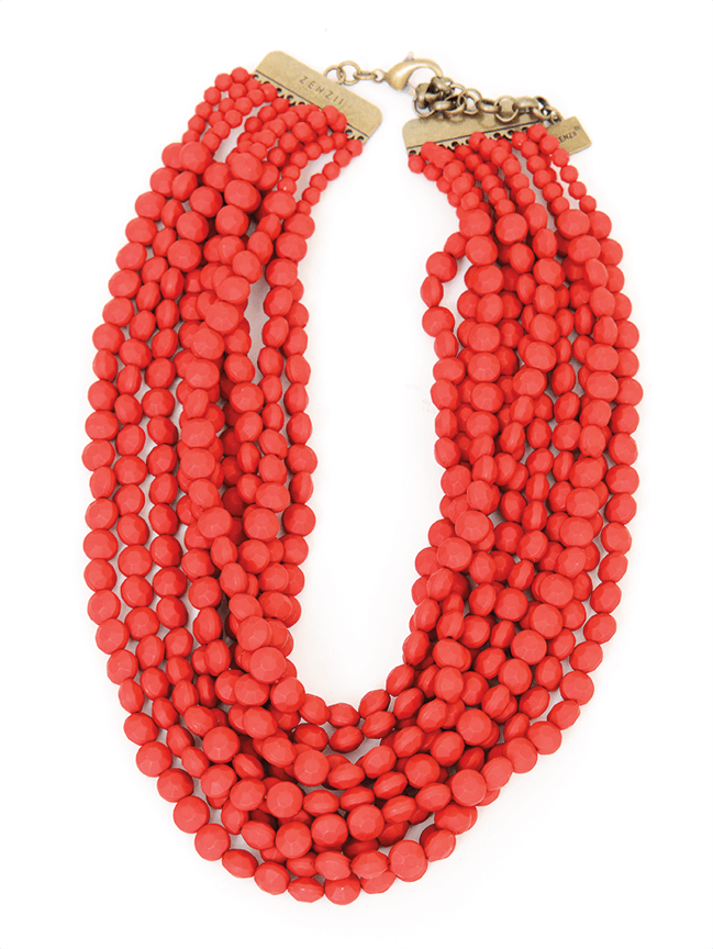 Matte red bead strand