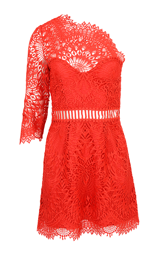sistine embroidery one shoulder dress