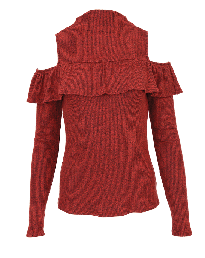 Red Haute cold shoulder mock turtleneck