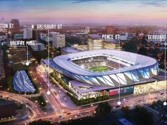 The potential MLS stadium location in downtown Raleigh.
