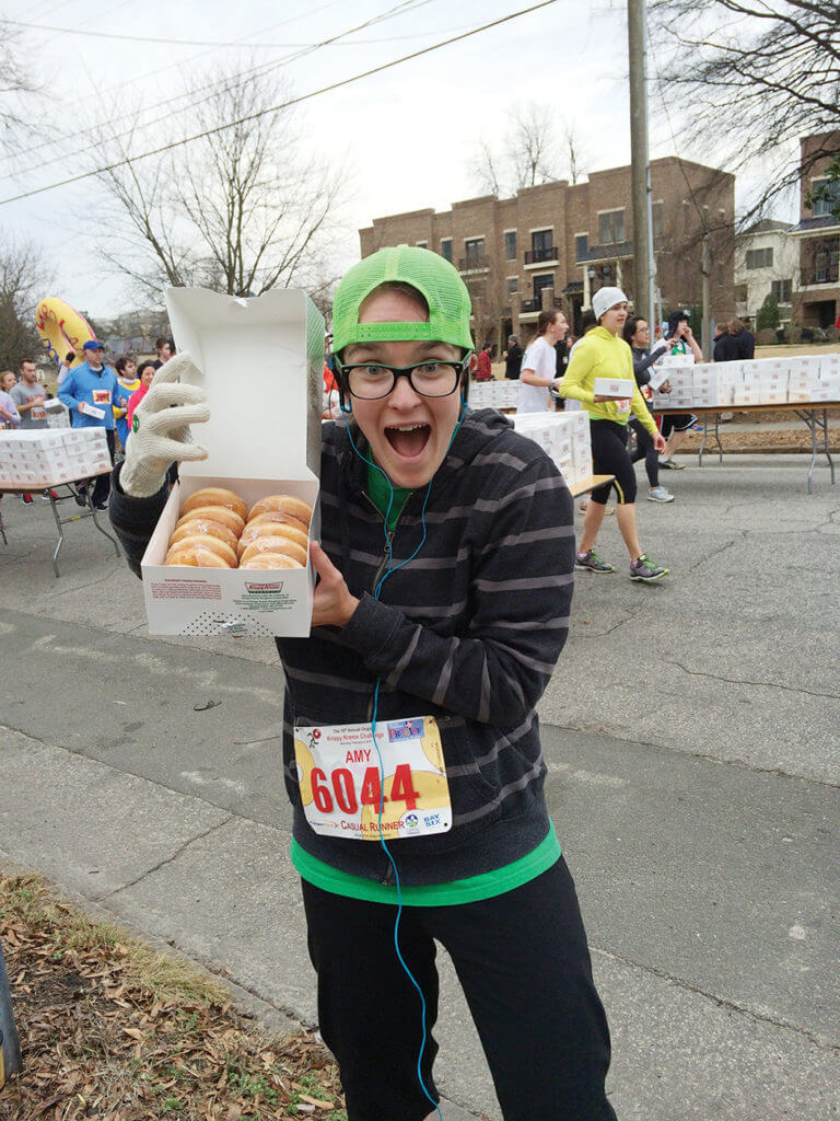 Run a race and eat a box of donuts in the Krispy Kreme Challenge!