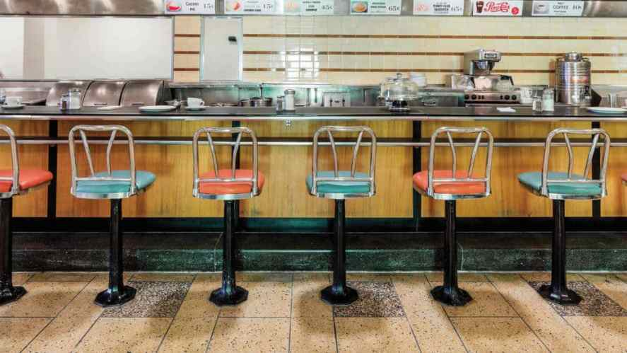 The original Woolworth's lunch counter where peaceful sit-ins were held in 1960, now at the International Civil Rights Center and Museum.