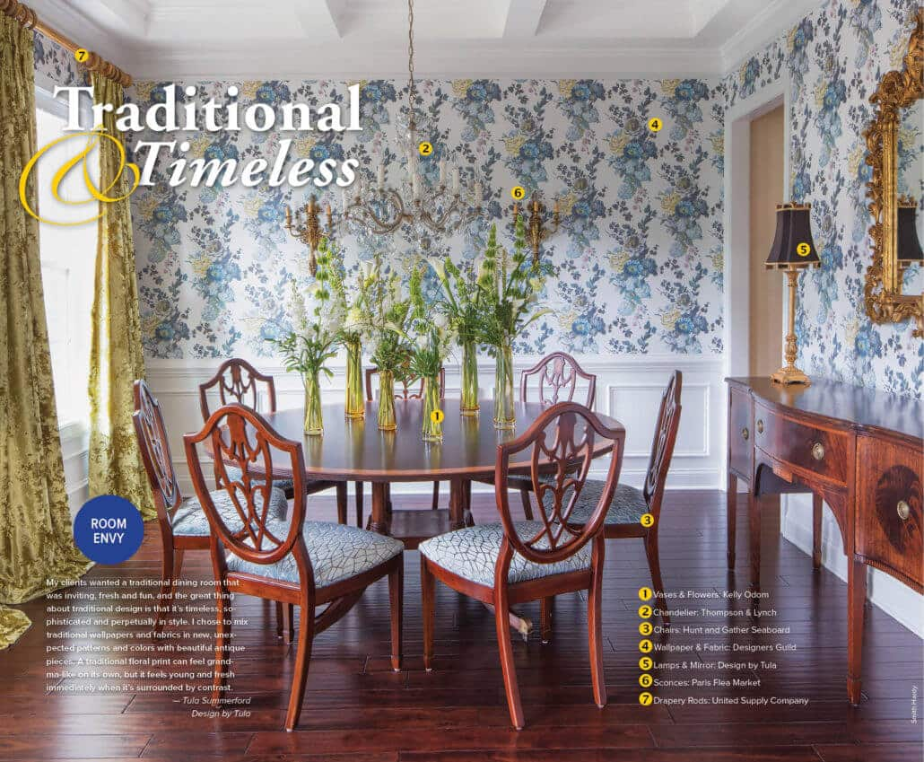 A traditional dining room designed by Tula Summerford of Design by Tula.