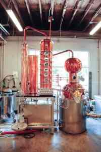 Distilling machines at Durham Distillery