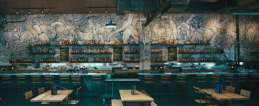 Taylor White's mural at   Whiskey Kitchen
