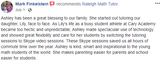 Mark recommends Raleigh Math Tutor