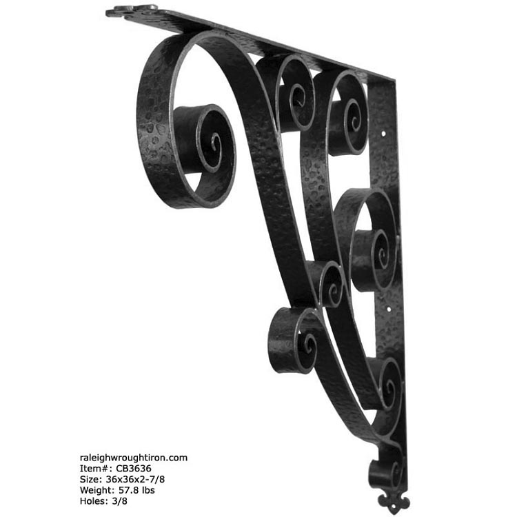 Decorative Iron Porch Canopy Support Bracket 36x36x2-7/8  sc 1 st  RaleighWroughtIron & Decorative Iron Porch Canopy Support Bracket 36x36x2-7/8 ...