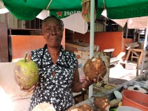 Breadfruit and what she called a yam.