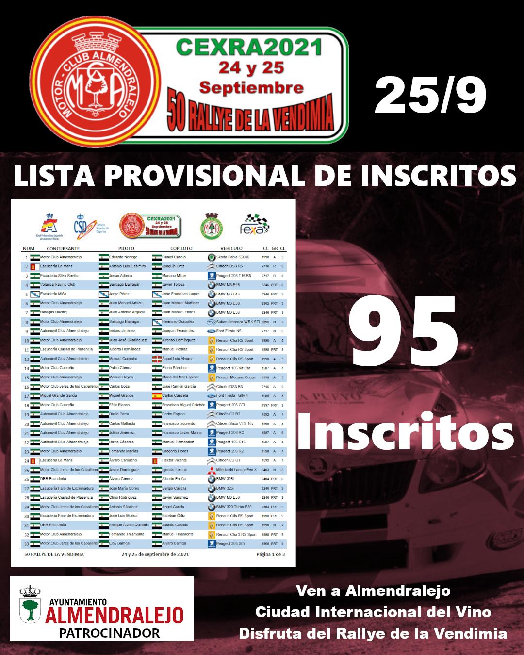 Lista Provisional de Inscritos del 50 Rallye de la Vendimia