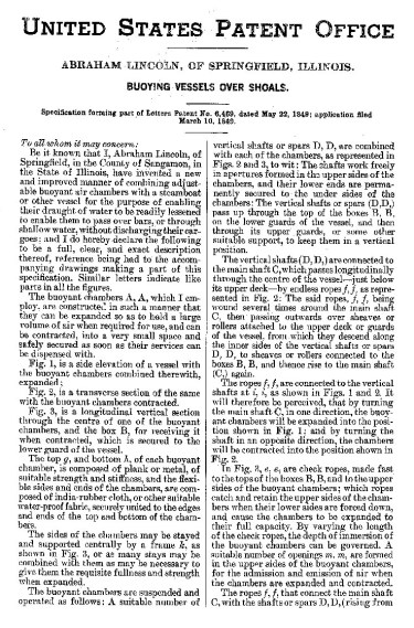 Lincoln Patent Pg. 1
