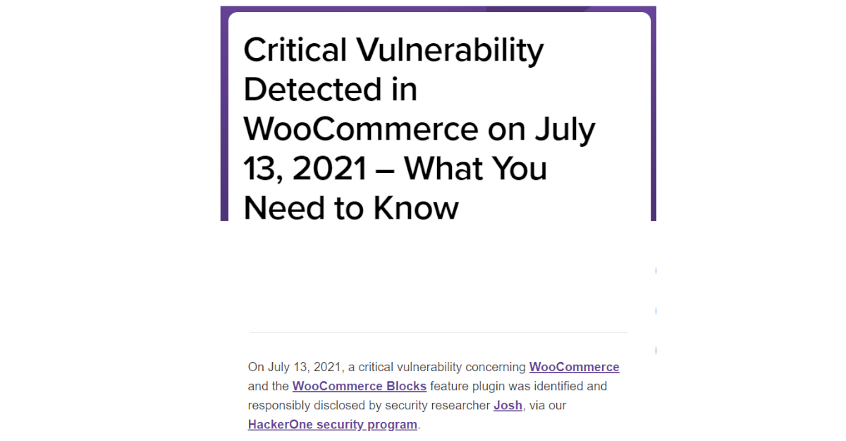 """What do you mean """"Action required: Critical vulnerability in WooCommerce""""?"""