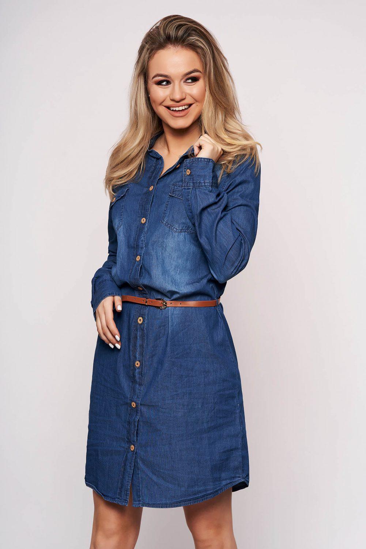 Rochie SunShine albastra scurta de zi cu croi larg din denim cu buzunare si accesoriu tip curea