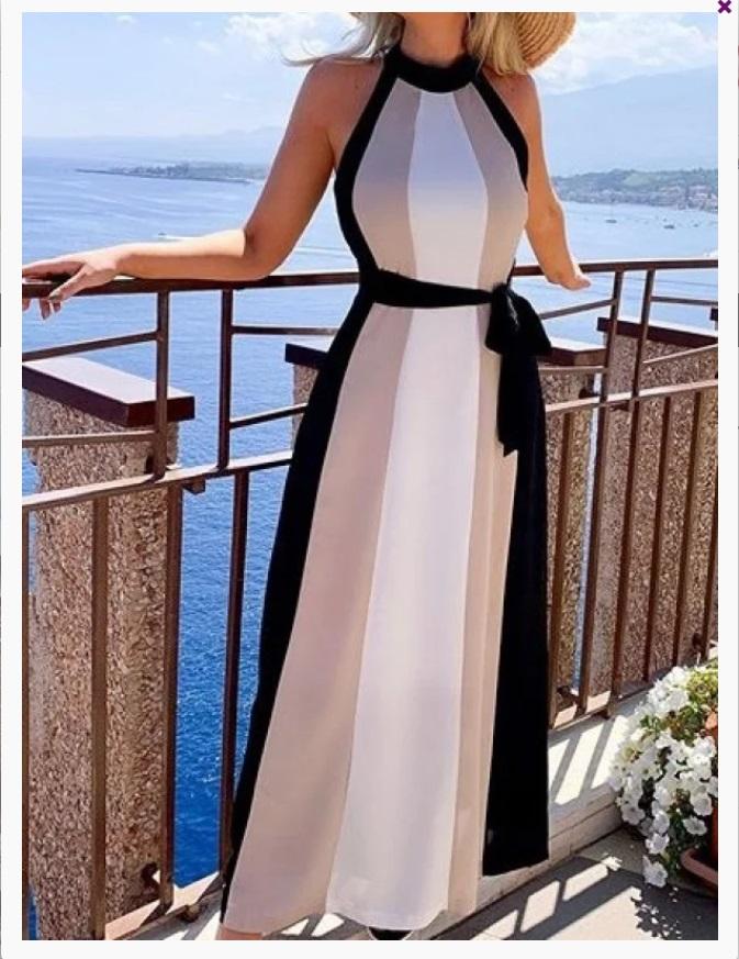 Rochii de vara in trend- Rochie halter de vara lunga in dungi verticale alb crem negru