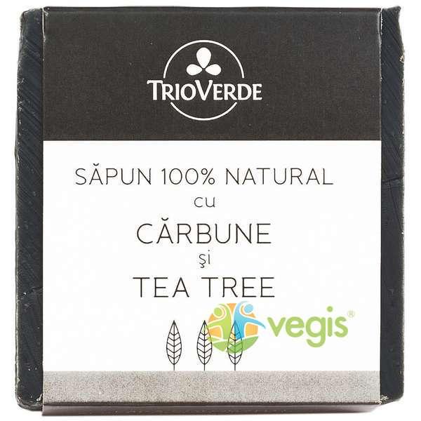 Sapun Natural Cu Carbune Si Tea Tree 110Gr TRIO VERDE