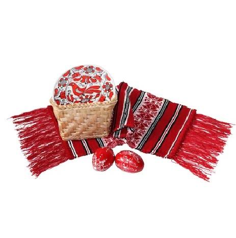 Cos cadou produse artizanat, mileu tesut, farfurie ceramica, oua lemn, 0.509 Kg