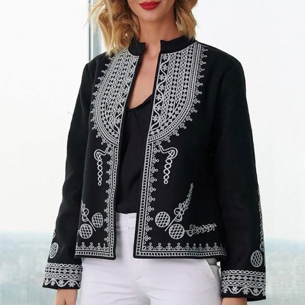 Sacou National din stofa de lana neagra - Elena