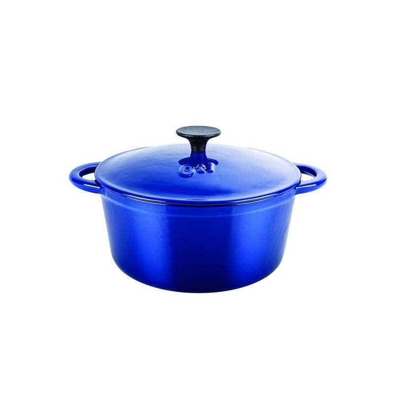 Cratita din fonta pura cu capac,2.5Litri,20 cm,albastru