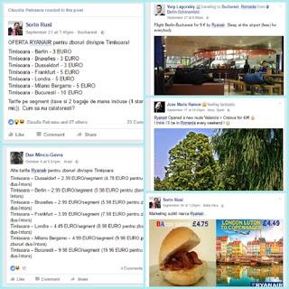 Prietenii de pe Facebook posteaza oferte Ryanair