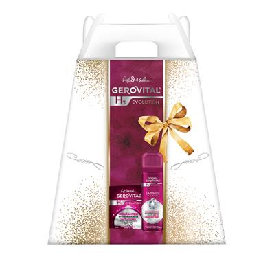 Casetă Cadou Gerovital H3 Evolution: Cremă Antirid intens Hidratantă SPF 10, Deodorant Saphhire Woman