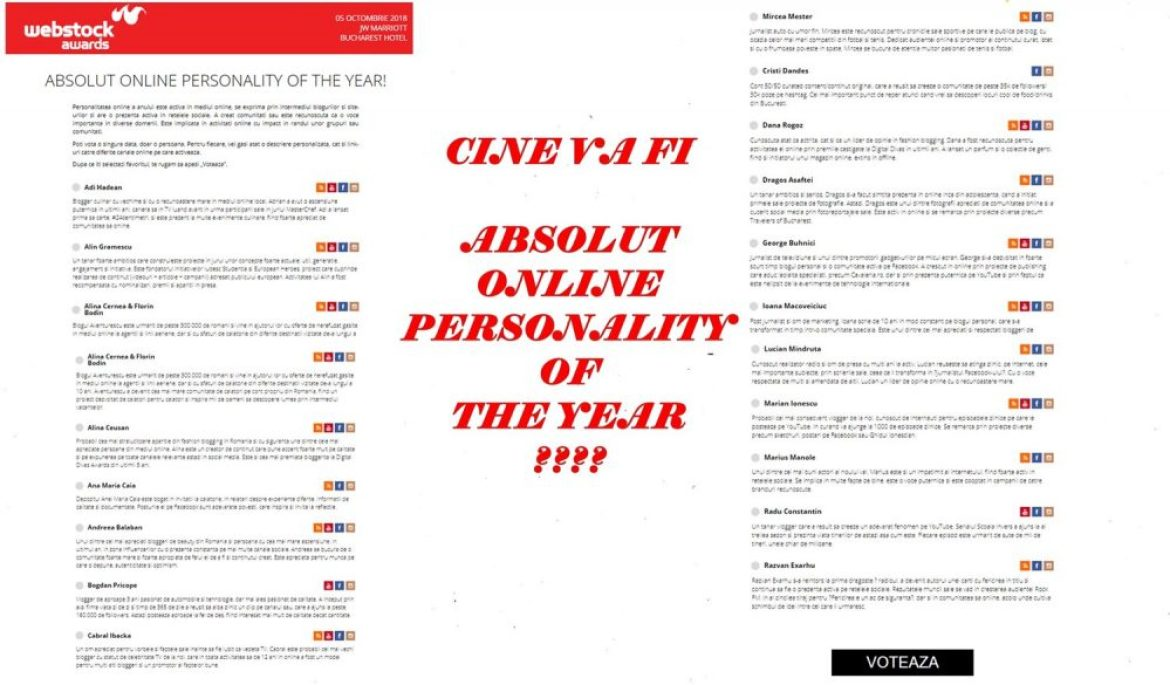 Cine va fi Absolut Personality of the Year?