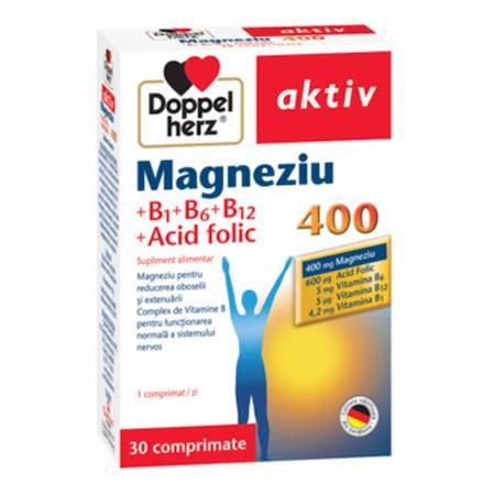 Supliment alimentar DOPPELHERZ MAGNEZIU 400 + B1 + B6+ B12 + ACID FOLIC, 30 tablete